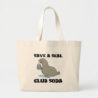 save a seal club soda jumbo tote bag