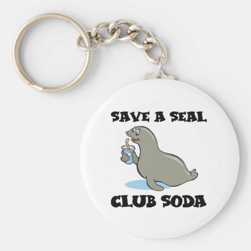 save a seal club soda key chains