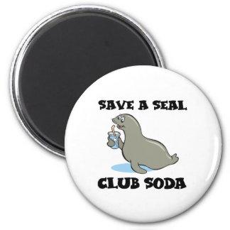 save a seal club soda 2 inch round magnet