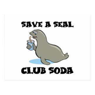 save a seal club soda postcard