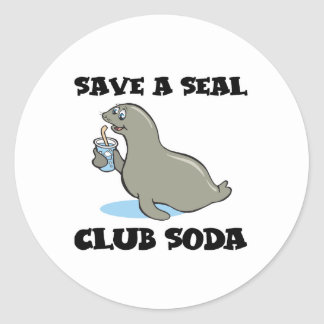 save a seal club soda classic round sticker