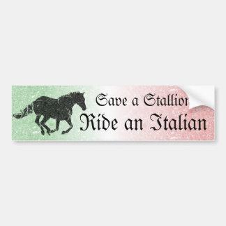 Save a Stallion Ride an Italian Bumper Sticker