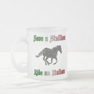 Save a Stallion Ride an Italian Frosted Mug
