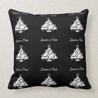 Save a Tree Christmas Tree Star Black and White Throw Pillow
