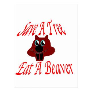 Save a tree Eat  A Beaver Postcards