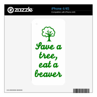 Save a tree eat beaver decal for iPhone 4S