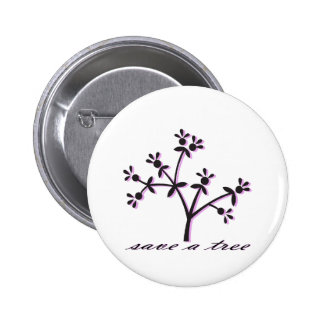 Save a Tree Pink Button
