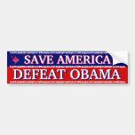 SAVE AMERICA - DEFEAT OBAMA CAR BUMPER STICKER