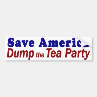 Save America Dump Tea Party Car Bumper Sticker