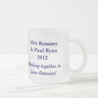 Save America!-Elect Romney & Ryan 2012+U.S. Flag Frosted Glass Coffee Mug