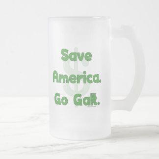 Save America Go Galt Frosted Glass Beer Mug