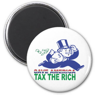 Save America/ Tax the Rich 2 Inch Round Magnet