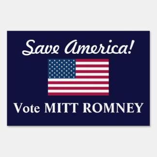 Save America!/Vote Mitt Romney+U.S. Flag Lawn Sign