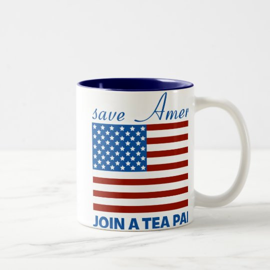 Save American - Join a TEA Party Two-Tone Coffee Mug
