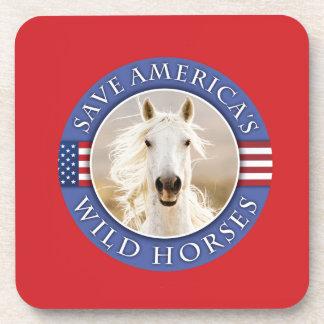 Save America's Wild Horses Cork Coaster