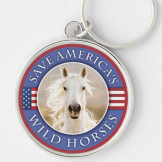 Save America's Wild Horses Round Keychain