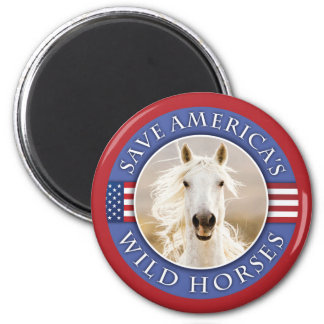Save America's Wild Horses Round Magnet