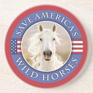 Save America's Wild Horses Sandstone Coaster