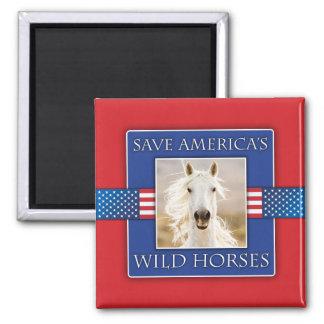 Save America's Wild Horses Square Magnet