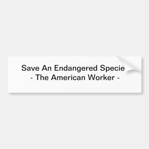 Save An Endangered Species Car Bumper Sticker