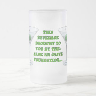 Save an Olive! Frosted Glass Beer Mug