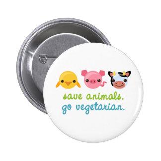Save Animals Go Vegetarian 2 Inch Round Button