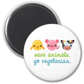 Save Animals Go Vegetarian 2 Inch Round Magnet
