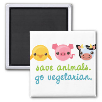 Save Animals Go Vegetarian 2 Inch Square Magnet