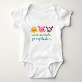 Save Animals Go Vegetarian Baby Bodysuit