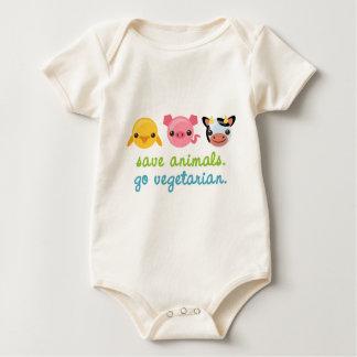 Save Animals Go Vegetarian Baby Bodysuits