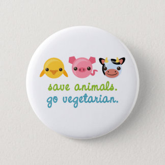 Save Animals Go Vegetarian Button
