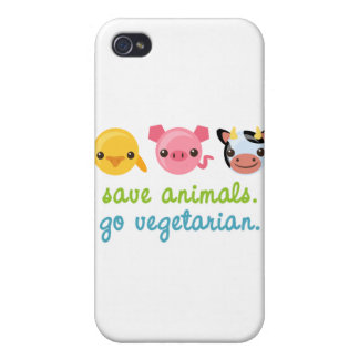 Save Animals Go Vegetarian iPhone 4 Covers