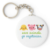Save Animals Go Vegetarian Keychain
