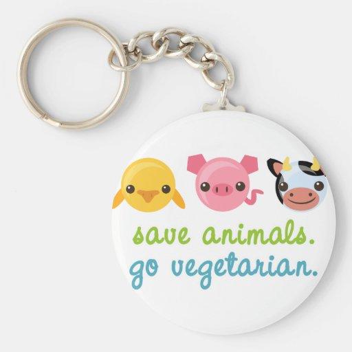 Save Animals Go Vegetarian Keychain