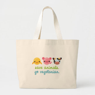 Save Animals Go Vegetarian Large Tote Bag