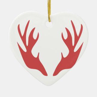 save antler deer christmas holiday ceramic ornament