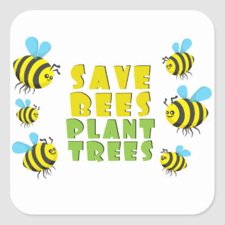 Save Bees Plant Trees Square Sticker