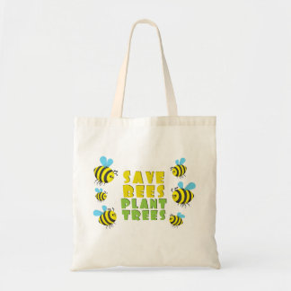 Save Bees Plant Trees Tote Bag