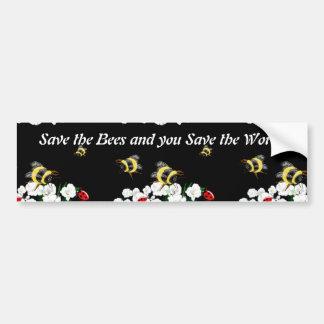 SAVE BEES save world - bee ladybug art Bumper Sticker
