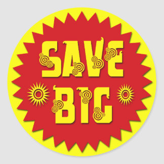 SAVE BIG RETAIL SALES LABEL CLASSIC ROUND STICKER