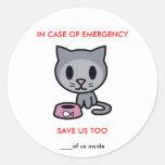 Save Cat -Emergency Round Stickers