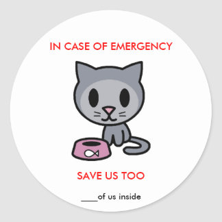 Save Cat -Emergency Round Stickers