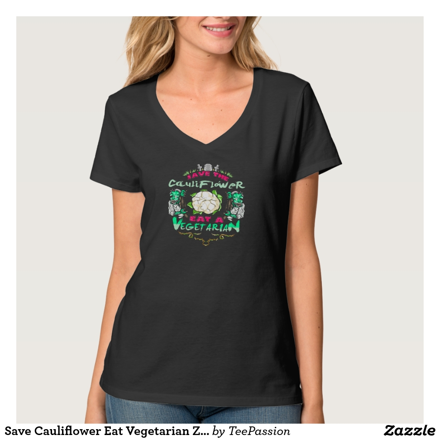 Save Cauliflower Eat Vegetarian Zombie T-Shirt - Best Selling Long-Sleeve Street Fashion Shirt Designs