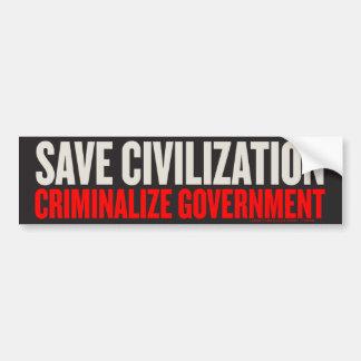 Save Civilization Bumper Sticker