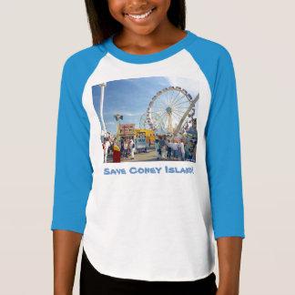 Save Coney Island! Girls' 3/4 Sleeve Raglan T T-Shirt