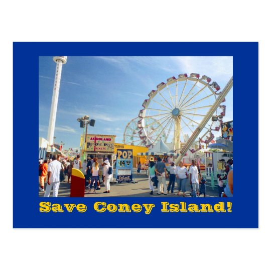 Save Coney Island! postcard (blue)