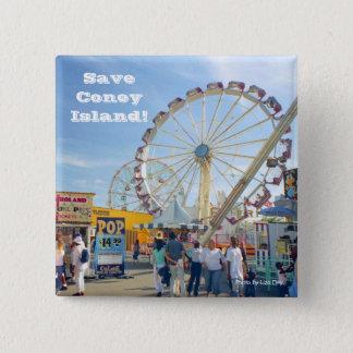 Save Coney Island! Square Button (Blue)