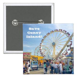 Save Coney Island Square Button Blue
