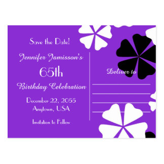 Save Date 65th Birthday Party Purple Announcement Postcard