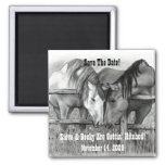 SAVE DATE: GETTING HITCHED: HORSE ART MAGNET
